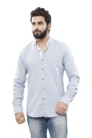 Turtle Mens Striped Casual Blue Shirt