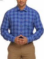 Park Avenue Men's Checkered Casual Linen Blue Shirt