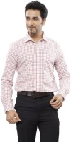 Turtle Mens Checkered Formal Red Shirt