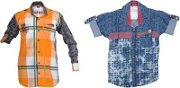 Kidzee Boys Self Design Casual Orange, Blue Shirt(Pack of 2)