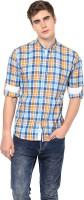 MONTEIL & MUNERO Mens Checkered Casual Orange Shirt
