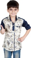 Ice Blue Boys Floral Print Casual Blue Shirt