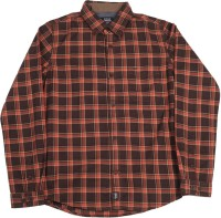 Indian Terrain Boys Checkered Casual Orange, Brown Shirt