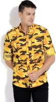 The Indian Garage Co. Mens Printed Casual Yellow Shirt