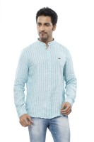 Turtle Mens Striped Casual Light Blue Shirt