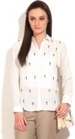 Van Heusen Womens Solid Casual White Shirt