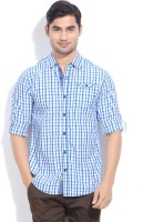 The Indian Garage Co. Mens Checkered Casual White, Blue Shirt