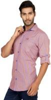 Macoro Mens Checkered Casual Orange, Pink Shirt