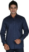 Leaf Mens Printed Formal Blue, White Shirt