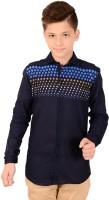 Anry Boys Floral Print Casual Ribbed Collar Shirt