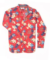 US Polo Kids Boys Floral Print Casual Red Shirt