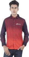EdenElliot Mens Printed Casual Linen Maroon, Brown Shirt