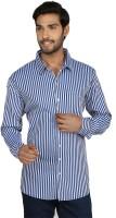 Macoro Mens Striped Casual Blue, White Shirt