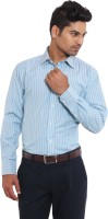 I-Voc Mens Striped Formal Light Blue, Green Shirt
