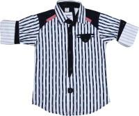 OKS Boys Boys Striped Casual White, Dark Blue Shirt