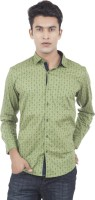 EdenElliot Mens Printed Casual Green Shirt