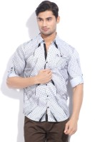 The Indian Garage Co. Mens Printed Casual Black, White Shirt