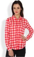 Ten on Ten Women's Checkered Casual Red, White Shirt