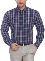 Park Avenue Men Checkered Formal Blue Shirt