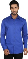 Macoro Mens Solid Casual Blue Shirt