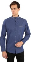 EdenElliot Mens Solid Casual Blue Shirt