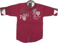 Kidzee Boys Self Design Casual Maroon Shirt
