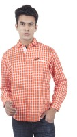EdenElliot Mens Checkered Casual Linen Orange Shirt
