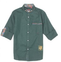 Monte Carlo Boys Solid Casual Green Shirt