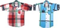 Kidzee Boys Self Design Casual Red, Blue Shirt(Pack of 2)