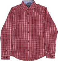 Indian Terrain Boys Checkered Casual Black, Red Shirt