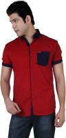 Carbone Men's Solid Casual Red Shirt thumbnail