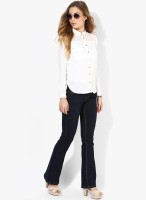 Only Women's Solid Casual White Shirt