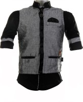 Fingerchips Boys Self Design Party Linen Grey, Black Shirt(Pack of 2)