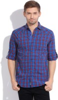The Indian Garage Co. Mens Checkered Casual Blue, Red Shirt