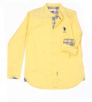 US Polo Kids Boys Solid Casual Yellow Shirt