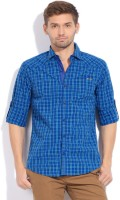The Indian Garage Co. Mens Checkered Casual Blue Shirt