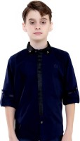 Mash Up Boys Solid Party Blue Shirt