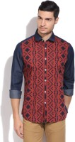 Allen Solly Mens Printed Casual Blue, Red Shirt