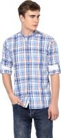 MONTEIL & MUNERO Mens Checkered Casual Blue Shirt