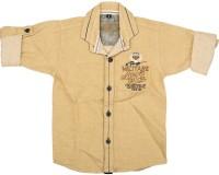 Kidzee Boys Self Design Casual Gold Shirt
