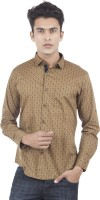 EdenElliot Mens Printed Casual Brown Shirt