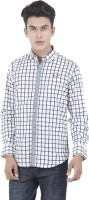 EdenElliot Mens Checkered Casual White, Black Shirt