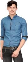 Macoro Mens Solid Casual Dark Blue Shirt