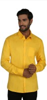 Macoro Mens Solid Casual Yellow Shirt