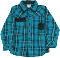 FS MINI KLUB Boys Checkered Casual Blue Shirt