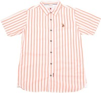 US Polo Kids Boys Striped Casual White, Orange Shirt
