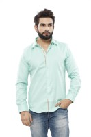 Turtle Mens Solid Casual Green Shirt