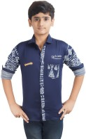 Ice Blue Boys Graphic Print Casual Blue Shirt
