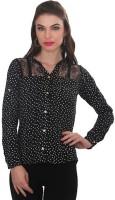 Ten on Ten Women's Polka Print Casual Black, White Shirt