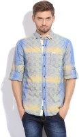 The Indian Garage Co. Mens Checkered Casual Blue, Yellow Shirt